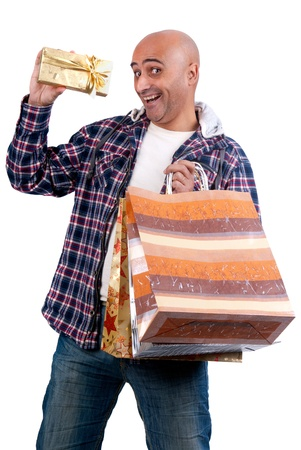 Adult man shopping christmas presents photo