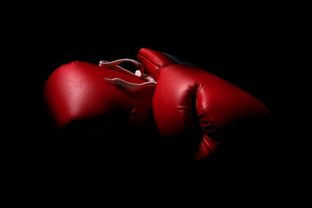 boxing sport: boxing gloves isolated in black