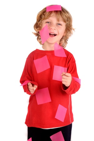 boy with reminder paper photo