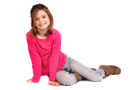 red jeans: girl isolated in white Stock Photo