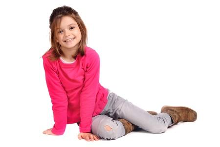 little models: ni�a aislado en blanco