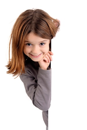 little girl isolated in white Stock Photo