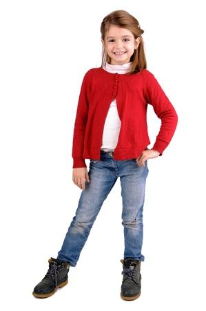 blonde little girl: little girl isolated in white Stock Photo