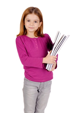 young girl holding books isolated in white Stock Photo - 17830172