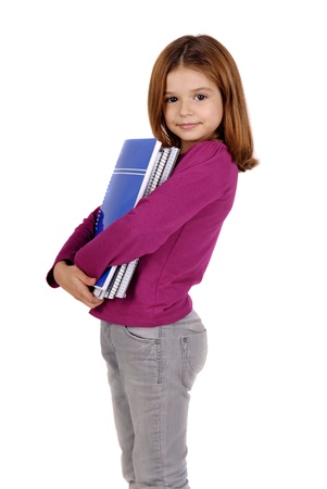 young girl holding books isolated in white photo