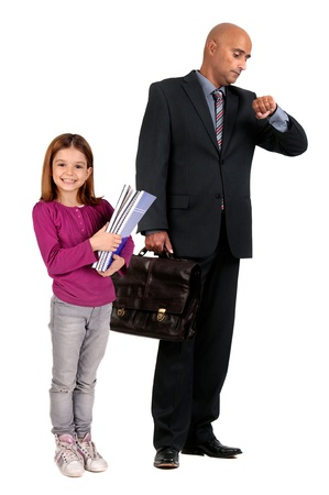 business man waiting for daughter photo