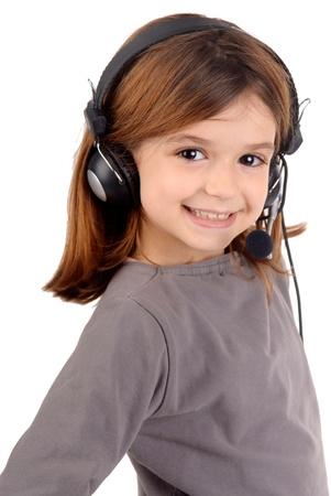 little girl with headphones photo