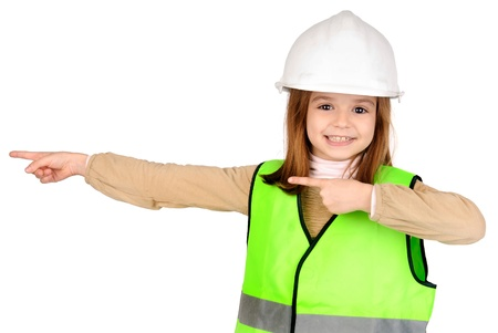 warden: little girl pretending to be a traffic warden Stock Photo