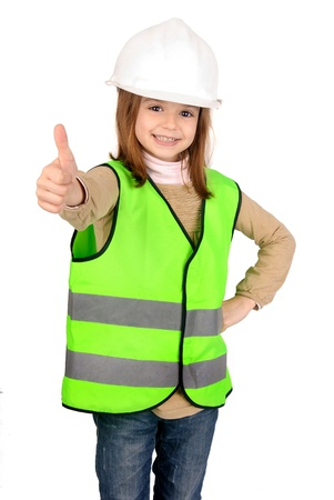 little girl with reflective vest Stock Photo - 17830194
