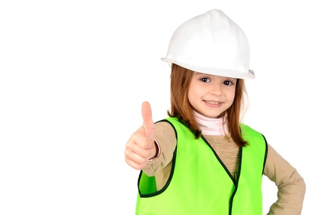 little girl with reflective vest Stock Photo - 17830037