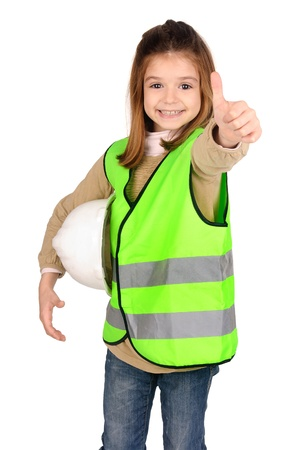 traffic warden: little girl with reflective vest