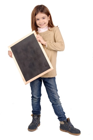 little girl holding a black board photo