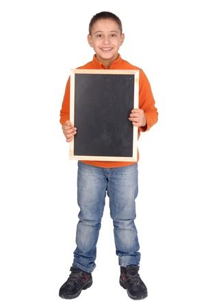 little boy holding a black board