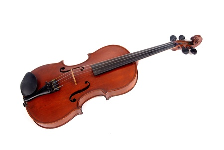 fiddle bow: violin isolated in white