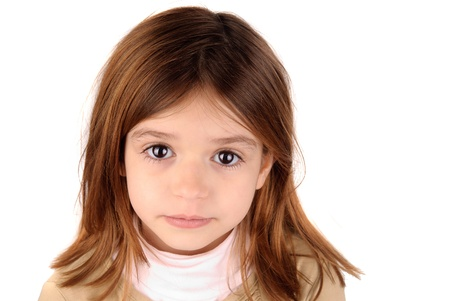 beautiful blonde girl with green eyes: little girl isolated in white Stock Photo