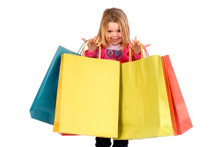 little girl with shopping bags Stock Photo - 17830559