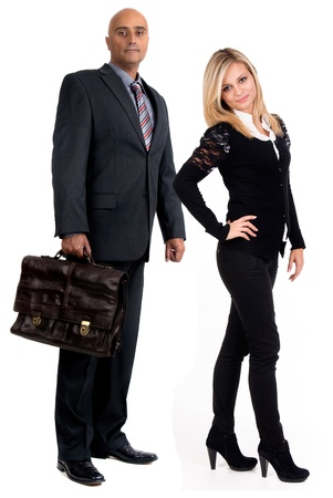 woman handle success: businessman and woman isolated in white