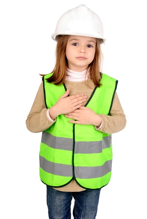 little girl with reflective vest Stock Photo - 17830576