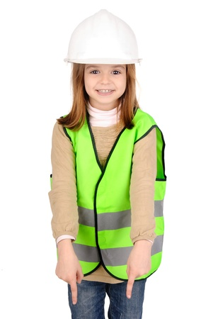 warden: little girl with reflective vest