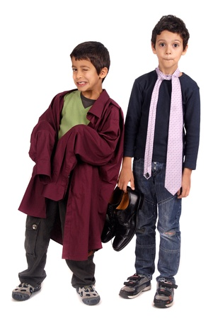boy dressing fathers suit photo