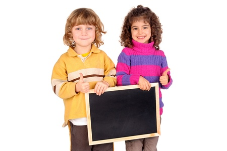 little kids holding a blackboard