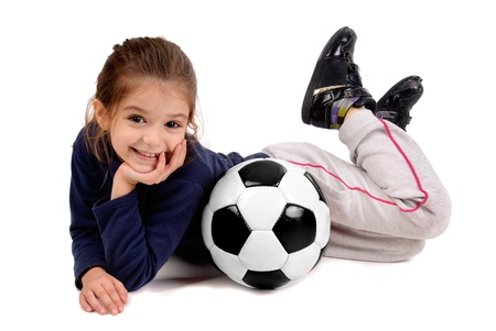 little girl with soccer ball Stock Photo - 17830628