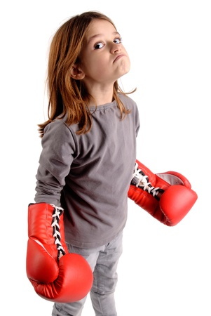 boxing boy: little girl with boxing gloves