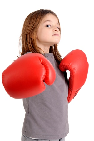 woman boxing gloves: little girl with boxing gloves
