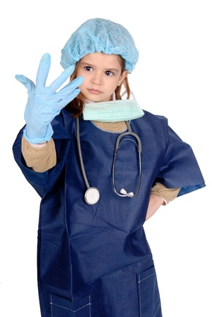 little girl playing doctor Stock Photo