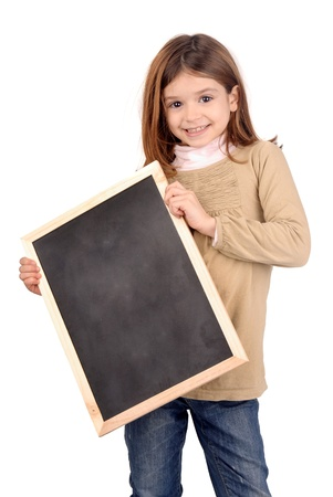 little girl with black board photo
