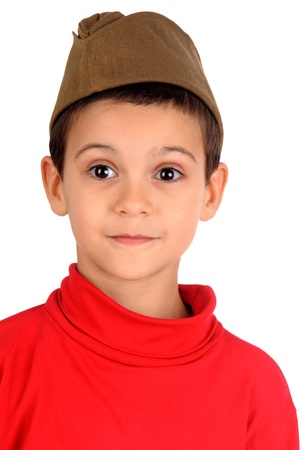 little militar boy isolated in white photo