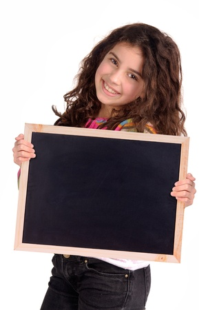 little girl holding a blackboard