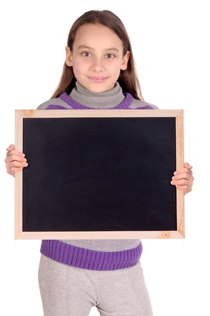 little girl holding a blackboard photo