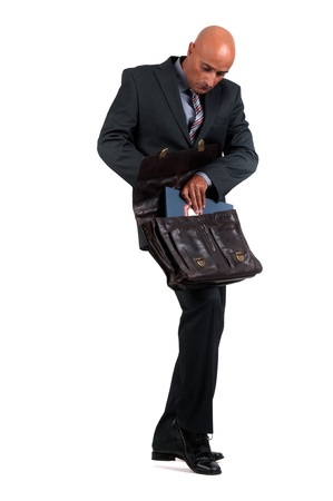 business man holding brief case photo