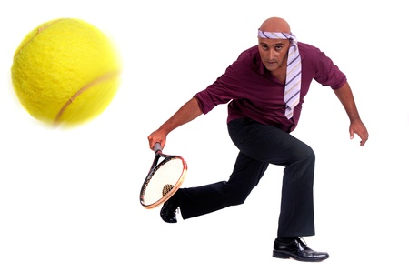 business man playing tennis Stock Photo - 18056167
