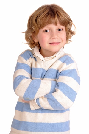 little boy isolated in white photo