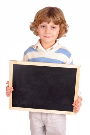 little boy holding a blackboard photo