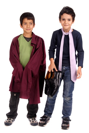 boys dressing fathers suit photo