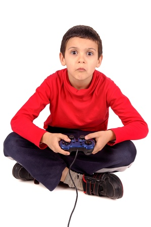kids playing video games: little boy playing video games