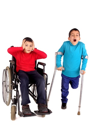 disabled kids isolated in white photo