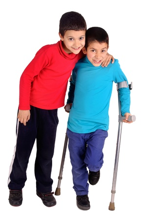 little kid with crutches Stock Photo