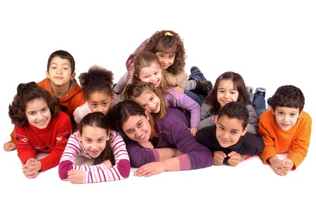 little kids isolated in white with young girl