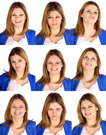 gezichts uitdrukkingen: jonge vrouw doet gezichtsuitdrukkingen Stockfoto