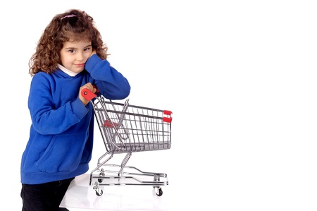 little girl with shopping cart photo