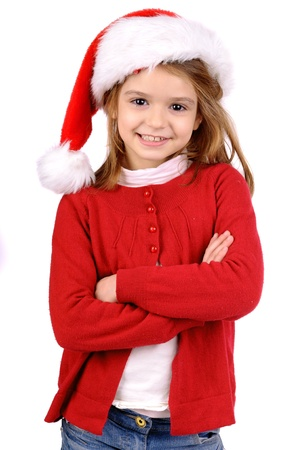 bl: little girl on christmas isolated in white