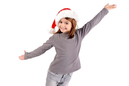 little girl on christmas isolated in white Stock Photo - 21090192