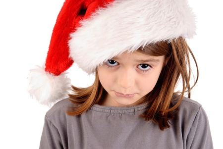 little girl on christmas isolated in white Stock Photo - 21090196