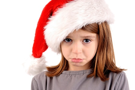 little girl on christmas isolated in white photo