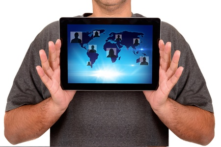 man using touchscreen isolated in white photo