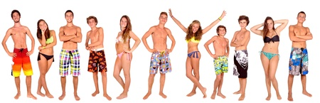 boardshorts: group of teenage kids isolated in white